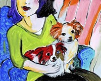 Lady with Her Lap Dogs Fine Art Print