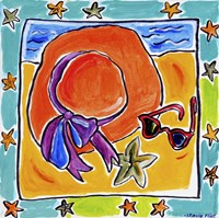 Beach Hat, Sunglasses, Starfish Fine Art Print