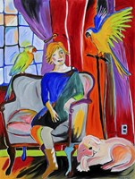 Woman With Parrots And A Dog Fine Art Print