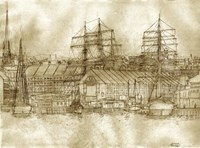 Boston Harbor c. 1877 Sepia Tone Fine Art Print