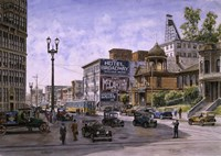Los Angeles,  Temple & Broadway Fine Art Print