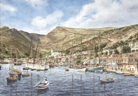 Greek Seaport Town Fine Art Print
