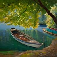 Barca sul Fiume Fine Art Print