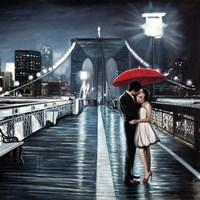 Kissing on Brooklyn Bridge Framed Print