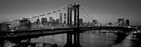 Manhattan Bridge and Skyline BW Fine Art Print