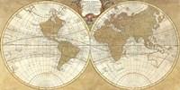 Gilded World Hemispheres I Fine Art Print