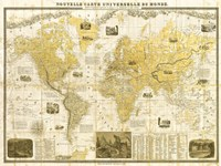 Gilded 1859 Map of the World Fine Art Print