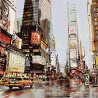 Taxi in Times Square Framed Print