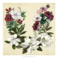 Magnolia & Poppy Wreath II Fine Art Print