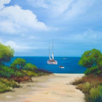 Sailboat on Coast II Fine Art Print