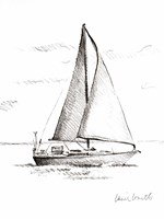Coastal Boat Sketch I Framed Print