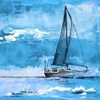 Coastal Boats in Watercolor I Framed Print