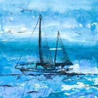Coastal Boats in Watercolor II Framed Print