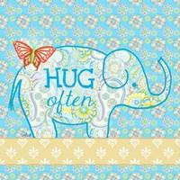 Blue Elephant I - Hug Often Fine Art Print