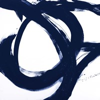Navy Circular Strokes I Fine Art Print