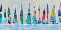 Dozen Colorful Boats Panel Fine Art Print
