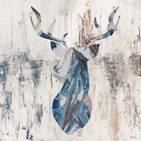 Blue Rhizome Deer Bust Fine Art Print