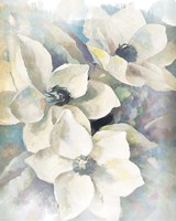 Magnolias Aglow on Abstract II Fine Art Print