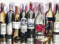 Bottles Reflect on Red I Fine Art Print