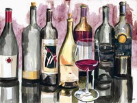 Bottles Reflect on Red II Fine Art Print