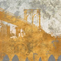 NY Gold Bridge at Dusk I Fine Art Print