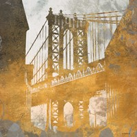 NY Gold Bridge at Dusk II Fine Art Print