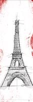 Eiffel Red Pop Sketch Fine Art Print