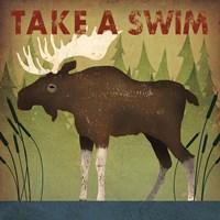 Take a Swim Moose Framed Print