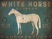 White Horse with Words Blue Fine Art Print