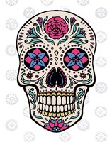 Sugar Skull on Gray Framed Print