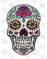 Sugar Skull III on Gray Framed Print