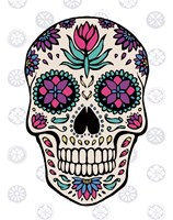 Sugar Skull IV on Gray Fine Art Print
