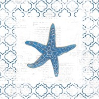Navy Starfish on Newsprint Framed Print