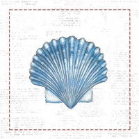 Navy Scallop Shell on Newsprint with Red Framed Print