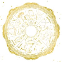Night Sky Zodiac White and Gold Fine Art Print