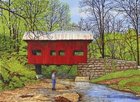Fishing At Devil's Den Bridge Fine Art Print