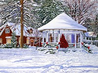 Gazebo At Ellicottville, Winter Framed Print