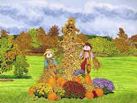 Pumpkins And Scarecrows, Eden Ny Fine Art Print