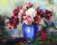 Flowers In A Blue Vase Fine Art Print