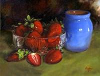 Strawberry Blue Vase Fine Art Print