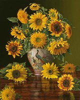 Sunflowers In A Peacock Vase Fine Art Print