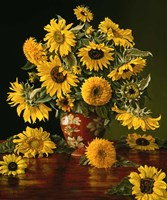 Sunflowers in a Crimson Vase Fine Art Print