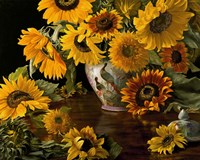 Sunflowers in a White Chinese Vase Fine Art Print