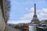 Eiffel Tower and Seine Boats in Paris Fine Art Print