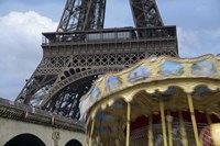 Eiffel Tower with Running Carousel Fine Art Print