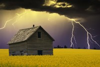 Old House with Lightning Fine Art Print