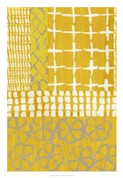 Golden Blockprint I Framed Print