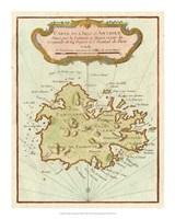 Petite Map of Island of Antigua Fine Art Print