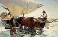 Returning from Fishing - Hauling of the Boat Fine Art Print