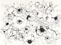 Black Line Poppies Mix Fine Art Print